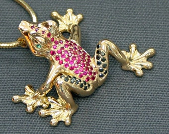 Stunning 18K Gold Frog Figurine Statue Sculpture Art Black Diamonds Rubies / Limited Edition By Barry Stein