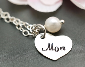 Gift for mom, custom birthstone, mom necklace, mommy jewelry, hand stamped, mothers day gift, sterling silver
