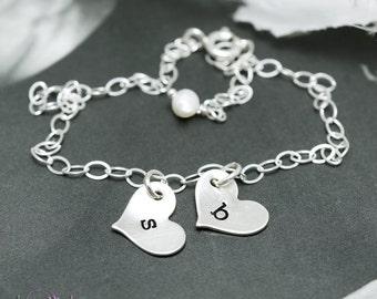 Friendship bracelet, Two Initials, Letter charm, Personalized bracelet, everyday jewelry, mommy bracelet, sterling silver