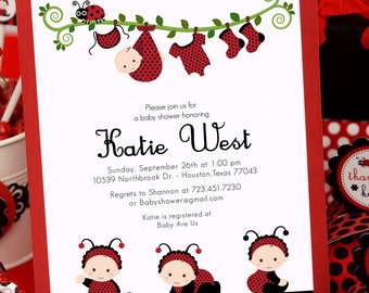 DIY PRINTABLE Invitation Card - Red Lady Bug Baby Shower Invitation - BS815CB1a2