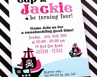 DIY PRINTABLE Invitation Card - Pink Pirate Birthday Party - PS831CA2a1