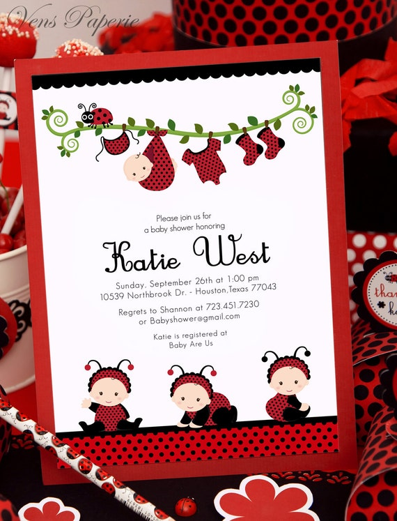 DIY PRINTABLE Invitation Card Red Lady Bug Baby Shower