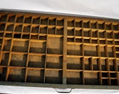 Antique Letterpress Painted Green Wooden Tray Drawer Jewelry Divider 2