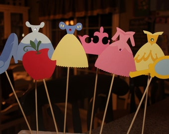 Princess Cake Toppers or Centerpiece Sticks (8)