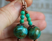 Gemstone earrings -TURQUOISE DROPS- greenish turqouise beaded earrings with ornate bead caps