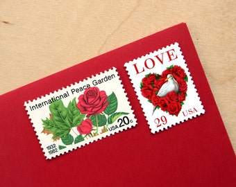 Red Bouquet - vintage unused postage stamps to post 5 letters - or use in scrapbooking and crafts