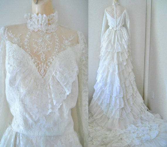 Vintage Victorian Wedding Dresses: Vintage Victorian Wedding Gown Edwardian Wedding Dress Train