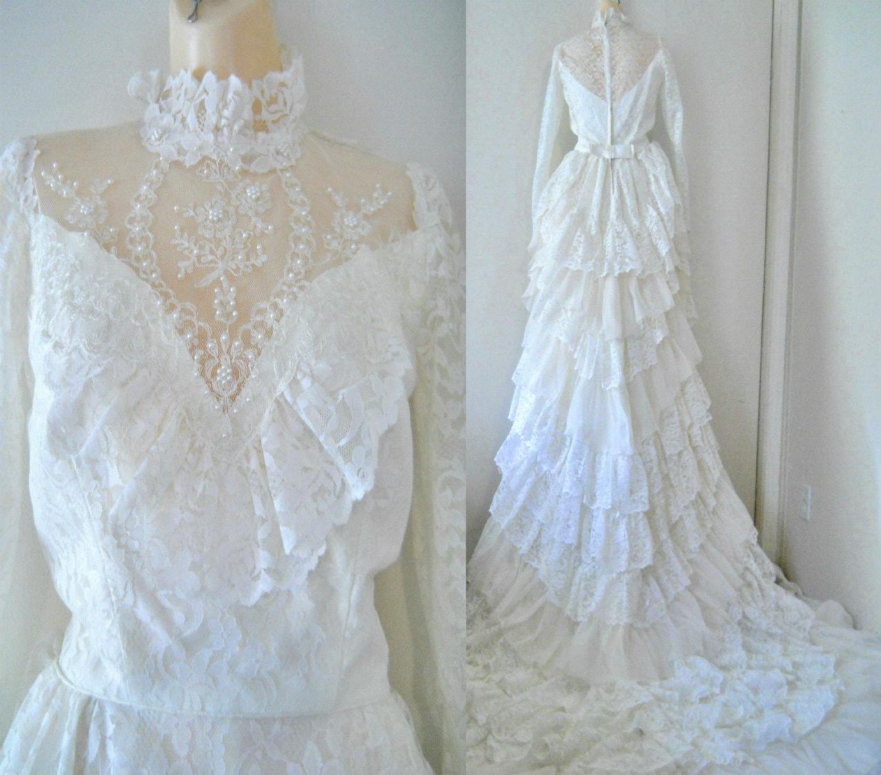 Vintage victorian wedding gown edwardian wedding dress train for Vintage victorian wedding dresses