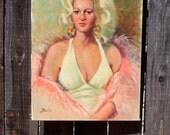 Original Portrait World Weary Blonde Woman Acrylic on Canvas