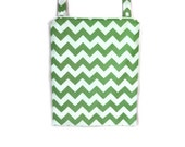 Hanging wet bag Green white chevron waterproof kitchen nursery wetbag zipper or flap