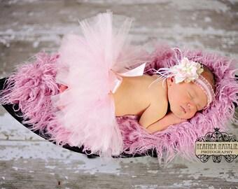 Baby Pink and Cream with Big Satin Bow Tutu - NEWBORN size - Perfect Photo Prop or Keepsake