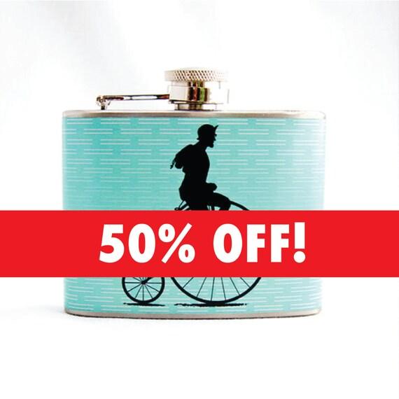 Flask Sale - Vintage Bike Messenger Celeste Green with Stripes, 4 oz Stainless Steel Flask - Velour Bag Included