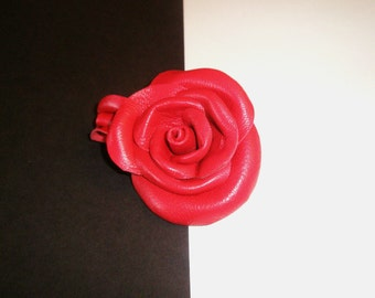 Red rose brooch leather soft flower Wedding bridesmaid gift idea