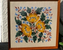 HAND STITCHED Petit Point Tapestry in frame- Yellow poppies (Ready to Ship)