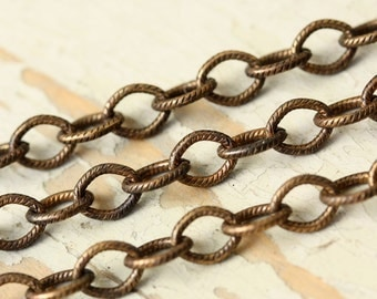 6ft Aged Brass 5mm x 7mm Etched Elongated Oval Cable Chain Hand Oxidized Patterned Solid Brass Chain