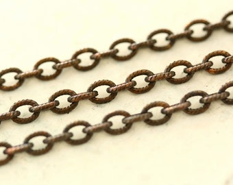 6ft Antiqued Brass 4mm x 5mm Etched Elongated Oval Cable Chain Hand Oxidized Patterned Solid Brass Chain