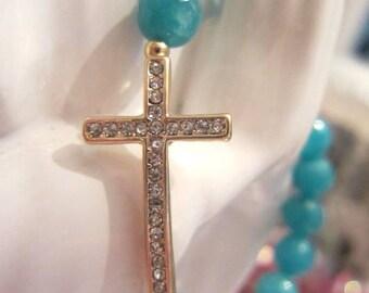 Crystal Sideways Cross Bracelet faceted stone beads