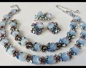 Vintage Crown Trifari Blue Glass Fruit Salad Shoe Button Stones Grand Parure Necklace Bracelet Brooch Earrings Blue Pink AB Rhinestones