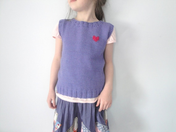 Girls Pullover Vest, Hand Knit, Merino Wool, size 6 7 8, Lavender Purple with Pink Heart (Custom Sizes Too, boy/girl)