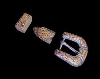 Vintage Art Nouveau Sterling Silver Cast Belt  Buckle w Belt Tip & Keeper-Floral