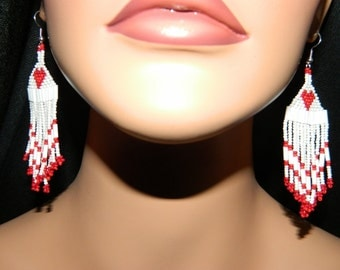 Native American Solid Red Heart Valentine Extremely Cute Beaded Earrings
