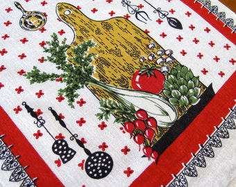 Vintage Linen Towel Dish Kitchen Startex Cutting Board Veggies Red