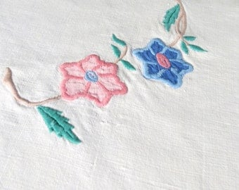 Vintage Linen Tablecloth Embroidery Applique Flowers Table Cloth Blue Pink