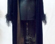 1920s - 1930s velvet coat // 1920s coat // 1920 black coat with ostrich cuffs // Feather coat // 1920 feather