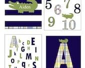 alligator nursery, personalized prints, boy's room decor, alphabet print, alligator wall decor, nursery art, green and navy, green alligator