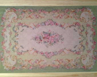 Dollhouse Miniature Green Aubusson Rug with Pink Roses, Scale One Inch
