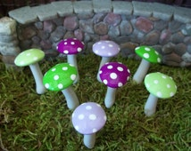 Miniatures for Fairy Gardens Free Shipping   mushrooms accessories terrarium 8 pcs purple green mix