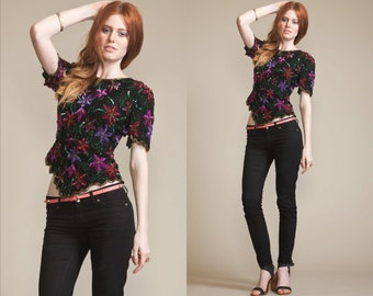 Vintage 80s SEQUIN FLORAL Top // Scallop Bottom // Beads // Silk