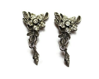 Vintage Floral Rhinestone Clip On Earrings