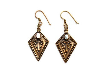 Vintage Art Deco Style Bronze and Shell Earrings
