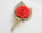 Set of 6 Red Flower burlap Boutonniere Wedding Boutonniere
