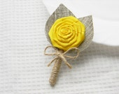 Yellow Flower burlap Boutonniere Wedding Boutonniere