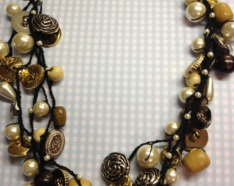 Metallic Button, Wood & Pearl Statement Necklace