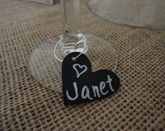 WINE Charms  -  Chalkboard   (Set of 10) - Heart