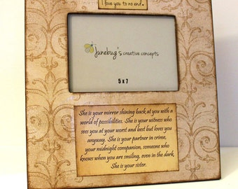 Large 12x12 Personalized Photo Frame 5x7 Vintage Aged Scroll