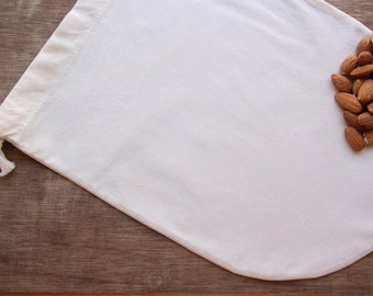 100% All Organic Nut Milk Straining Bag Reusable Set of 1 -- Organic unbleached Cotton, Organic cotton thread and organic cotton drawstring