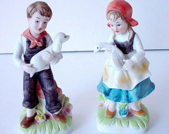 Country Boy And Girl Porcelain Figurines, Country Home Decor, Vintage Norleans Porcelain Collectible Figurines, Boy And Girl Knick Knacks