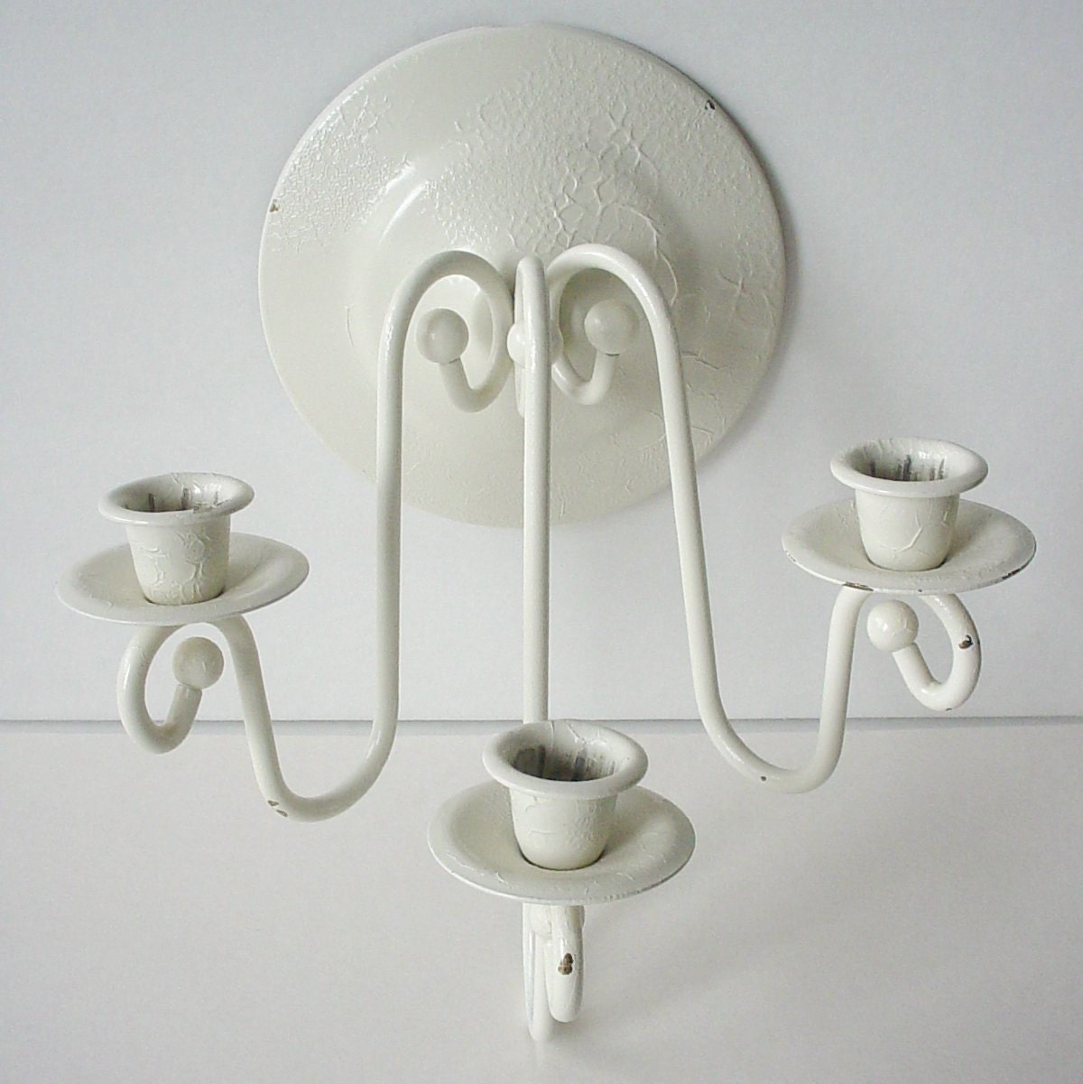 Wall Sconces On Clearance : CLEARANCE Vintage White Painted Wall Sconce Triple