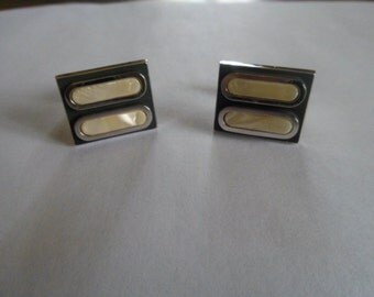 Vintage Rectangular Mother of Pearl Light Yellow and Black Silvertone Cufflinks