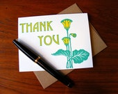 Thank You Card Letterpress Green Yellow Spring Art Nouveau A2 with Envelope