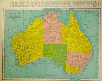 1942 Australia Vintage Atlas Map