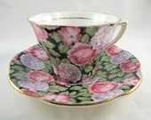 Rosina Tapestry Chintz China Cup Saucer Pink Roses Purple Hydrangea Black Teacup Serving