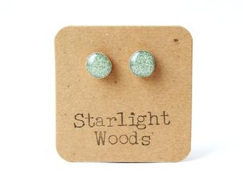 Sage Green Glitter Stud Earrings. Green Stud Earrings. Green Studs. Glitter Earrings. Green Post Earrings.