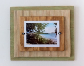 5 x 7 Distressed Handmade Picture Frame - Sage Green, Beige & Natural Wood
