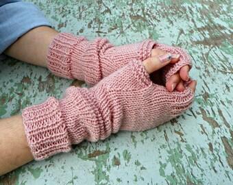 Knitting fingerless gloves powder pink, women accessories winter fall fashion, long gloves