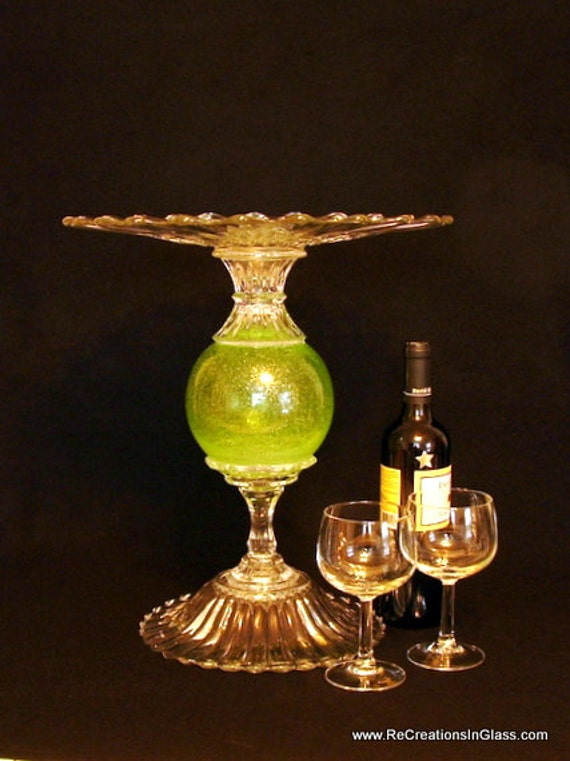 Spring green pedestal cake stand.  Wedding cake stand.  Pedestal server.  Display plate.  Upcycled  Repurposed glass.